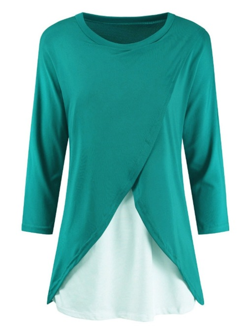 Color Block Round Neck Women's T-Shirt