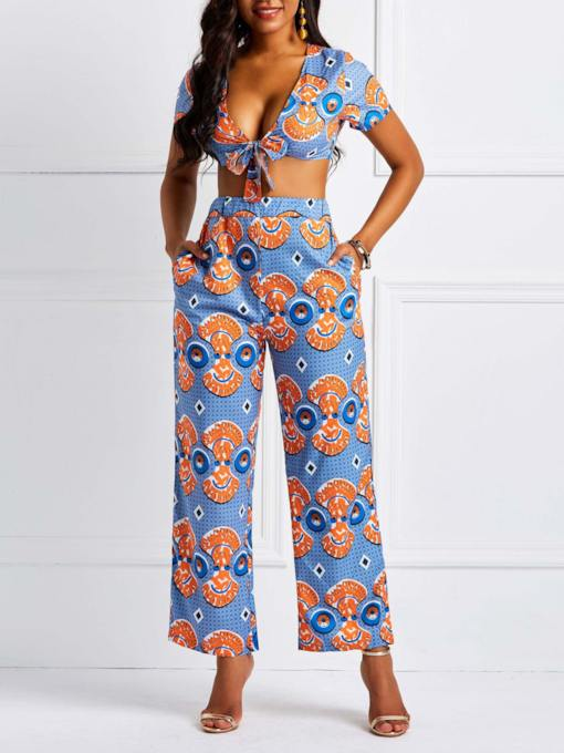 Cartoon Sexy Print Straight Women's Two Piece Sets