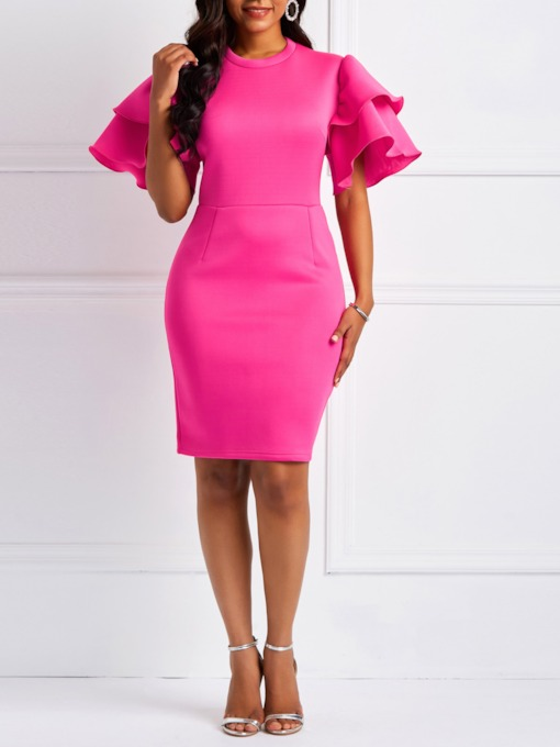 Pullover Half Sleeve Plain Women's Bodycon Dress