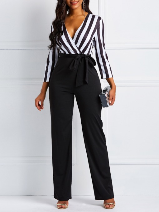 Lace-Up Color Block Tie Waist Women's Jumpsuit