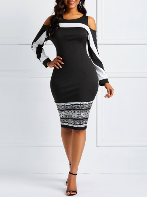 Nine Points Sleeve Patchwork Women's Bodycon Dress