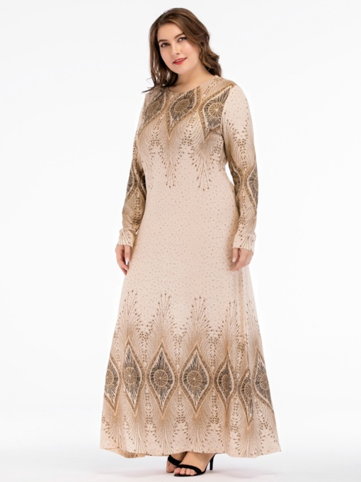 Plus Size Round Neck Print Fall Women's Maxi Dress