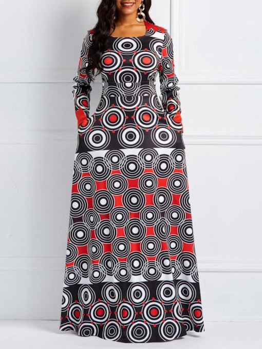 Print Long Sleeve Geometric Women's Maxi Dress