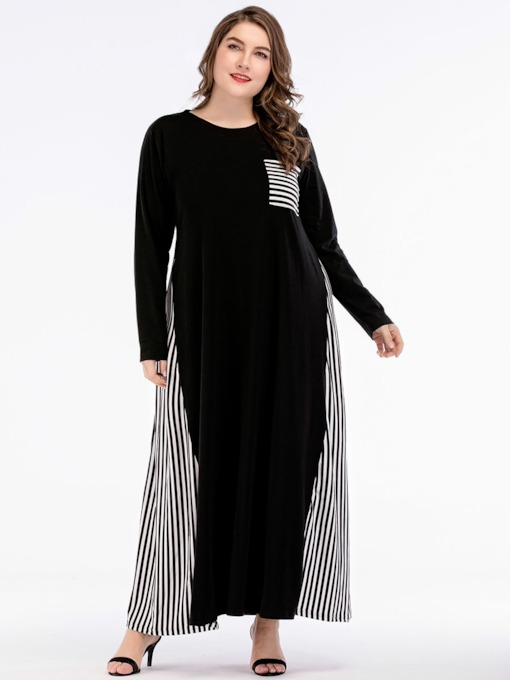 Plus Size Pocket Long Sleeve A-Line Women's Maxi Dress