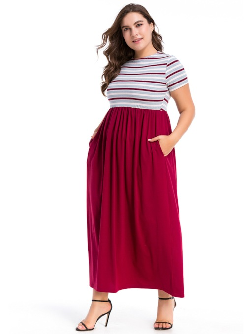 Stripe Round Neck Patchwork Women's Maxi Dress