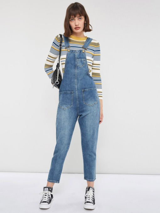 Plain Full Length Pocket Casual Loose Women's Overalls