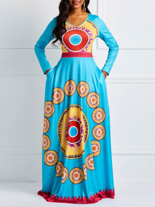 Geometric Prints V-Neck Long Sleeve Women's Maxi Dress