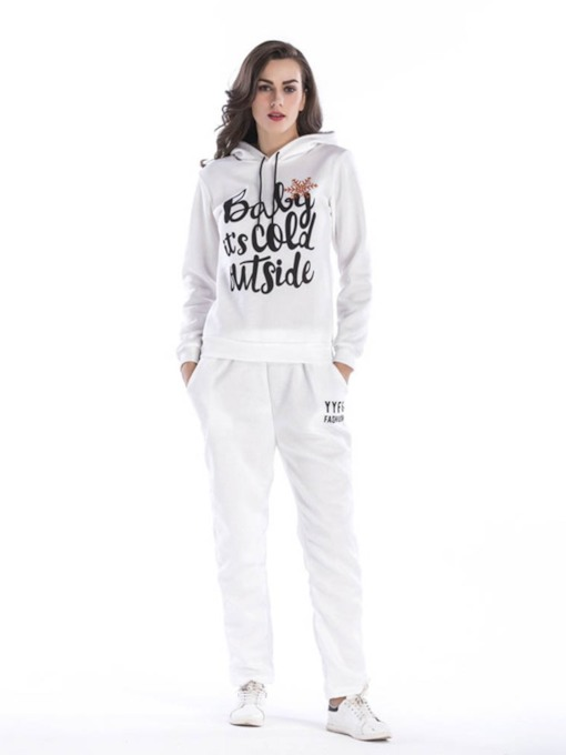 Christmas Letter Print Hoodie and Pants Women's Two Piece Sets