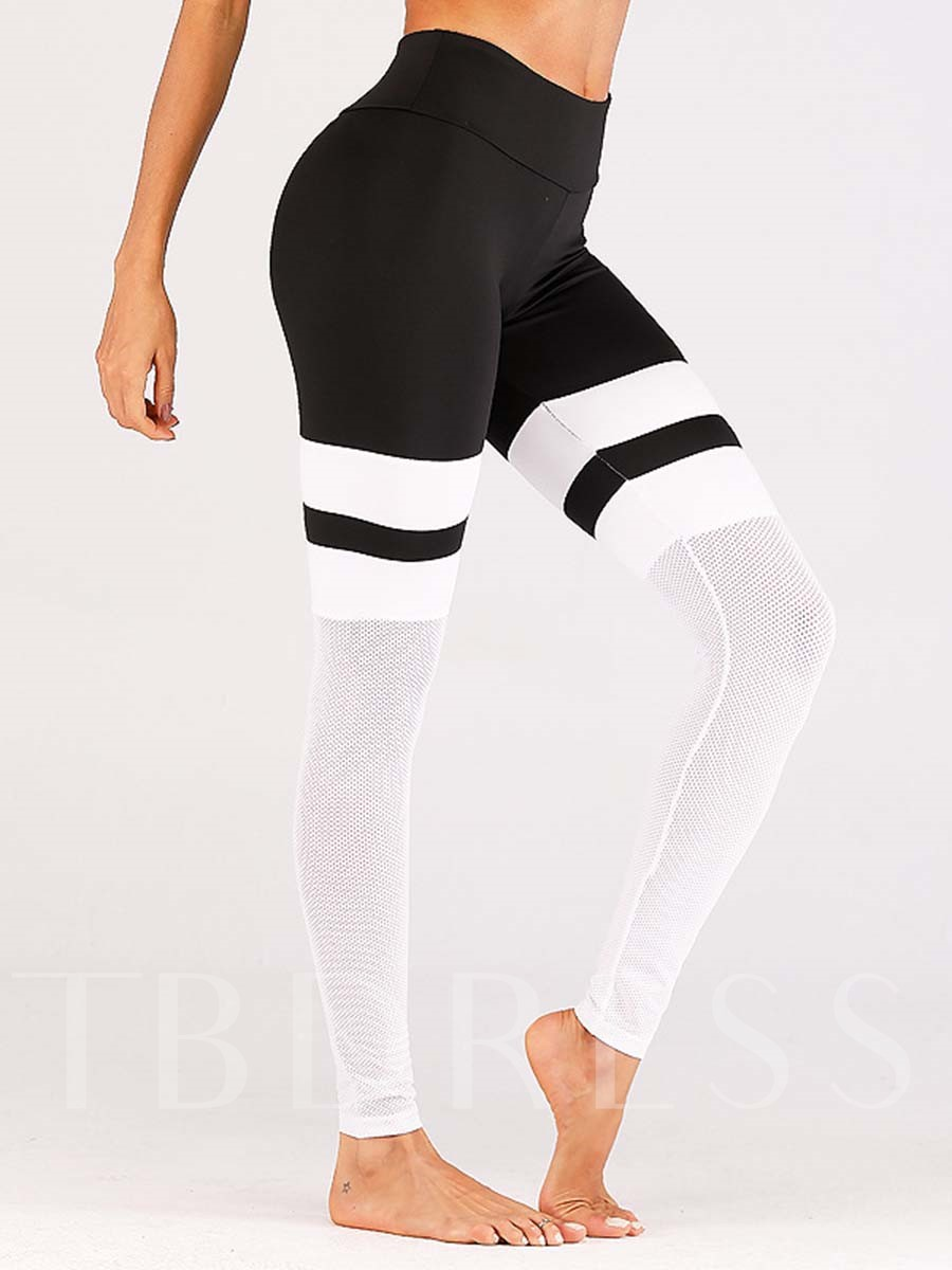 Mesh Patchwork Color Block Sports Leggings for Women