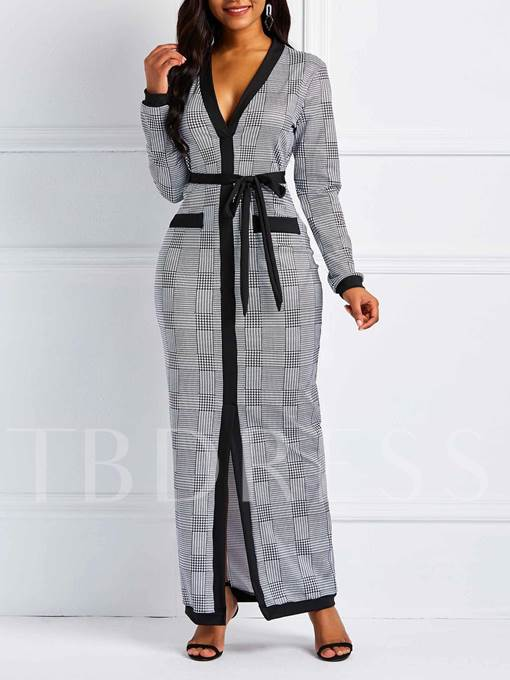V-Neck Long Sleeve Lace-Up Casual Women's Maxi Dress