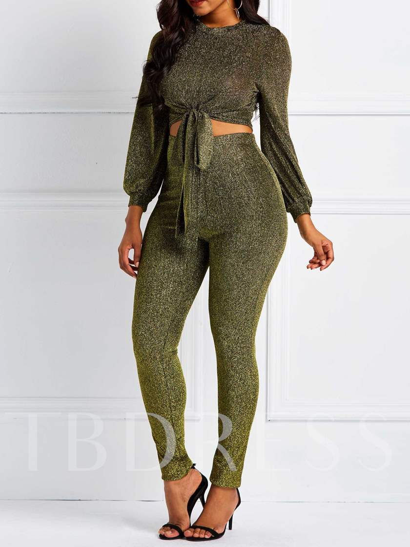 Casual Lace-Up Plain Pullover Women's Two Piece Sets