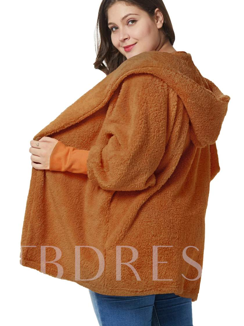 Wrapped Loose Hooded Plus Size Teddy Women's Overcoat