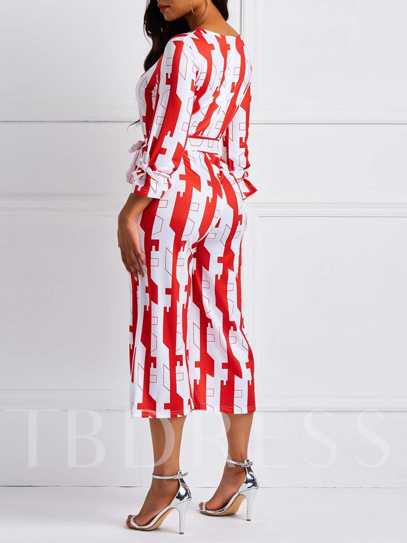Print Geometric Casual Mid-Calf Wide Legs Women's Jumpsuits