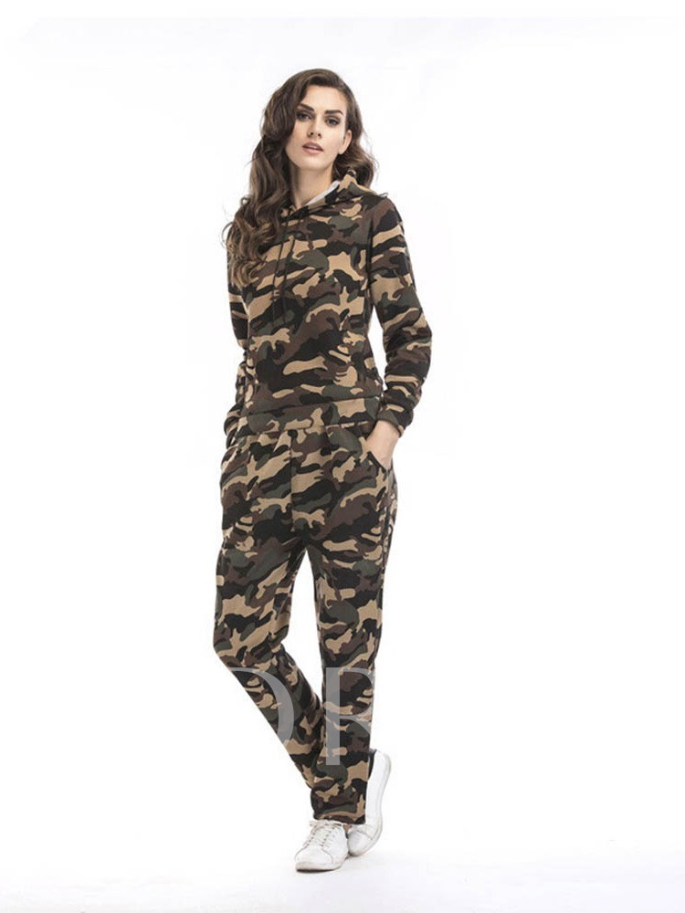 Camouflage Print Hoodie and Pants Women's Two Piece Sets