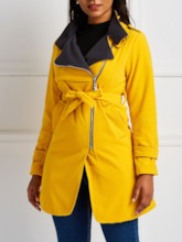 Side Zipper Slim Mid-Length Women's Overcoat