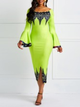 Long Sleeve Off Shoulder Lace Pullover Women's Bodycon Dress