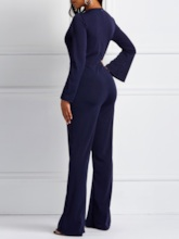 Full Length Casual Patchwork Stripe Bellbottoms Women's Jumpsuits