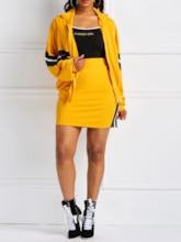 Patchwork Casual Color Block Skirt Bodycon Women's Two Piece Sets