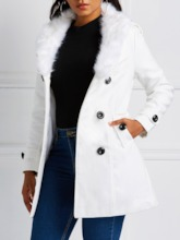 Faux Fur Collar Double-Breasted Lace-Up Winter Women's Overcoat
