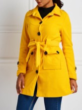 Plain Dual Pockets Lace-Up Women's Overcoat
