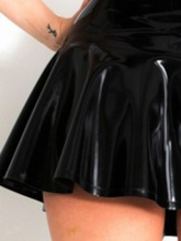 Sleeveless Patent Leather Plain Zipper Sexy Costume