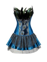 Color Block Mesh Feather Corset Dress