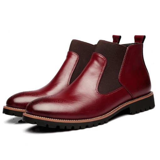 Patchwork Round Toe Brush Off Trendy Men's Chelsea Boots(2 Size Larger)