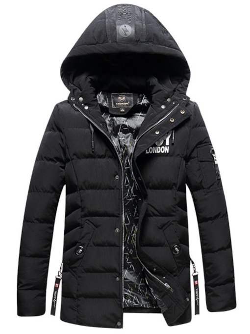 Stand Collar Thick Letter Slim Men's Down Jacket