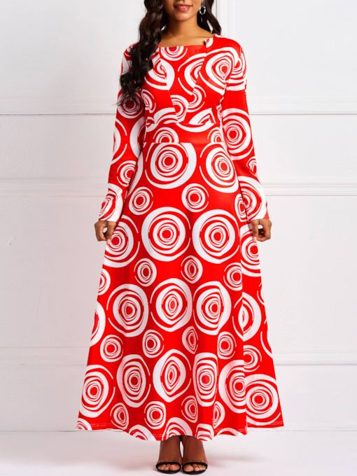 Long Sleeve V-Neck Prints Women's Maxi Dress