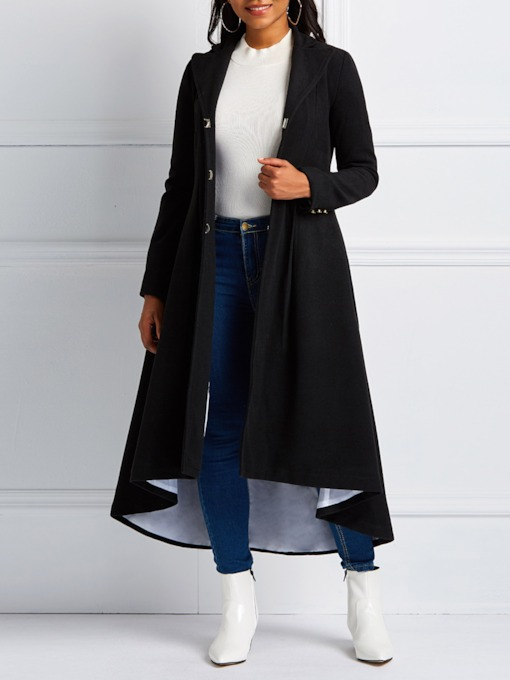 Hidden Button Patchwork Slim Long Women's Overcoat