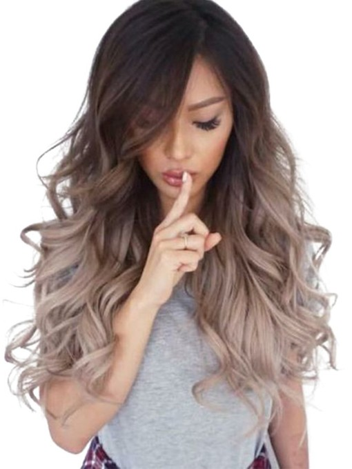Long And Wavy Brown Synthetic Hair Capless Wig 26 Inches