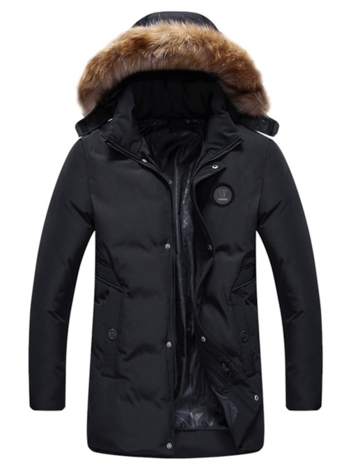 Slim Stand Collar Thick Plain Mid-Length Men's Down Jacket