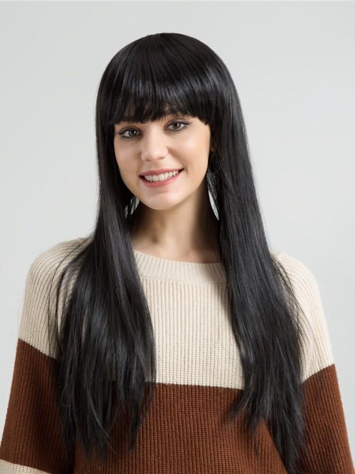 Long And Silky Straight Synthetic Hair Capless Wig 24 Inches