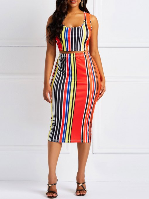Print Sexy Stripe Pullover Women's Two Piece Sets