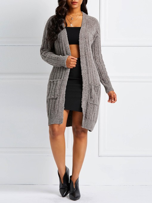 Dual Pockets Mid-Length Women's Cardigan