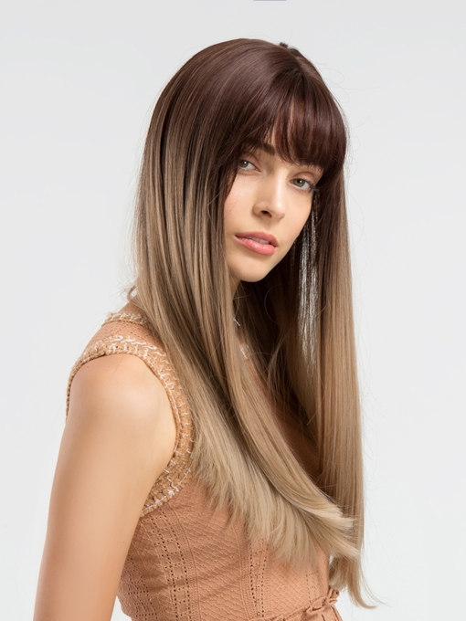 Long And Silky Straight Brown Synthetic Hair Capless Wig 24 Inches