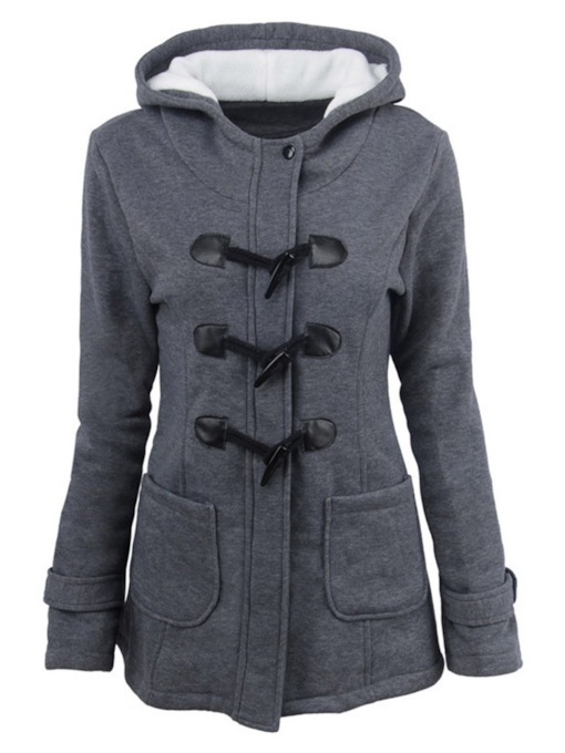 Slim Horn Button Mid-Length Winter Women's Overcoat