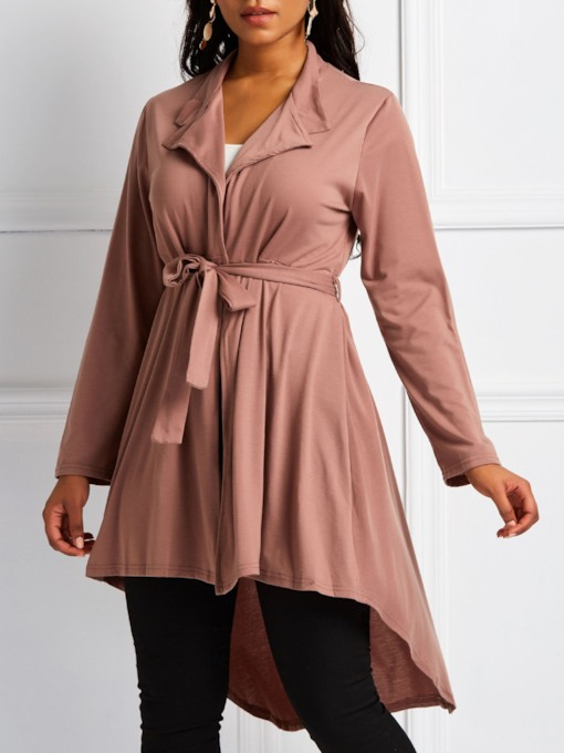 Notched Lapel Hemline Peplum Women's Trench Coat