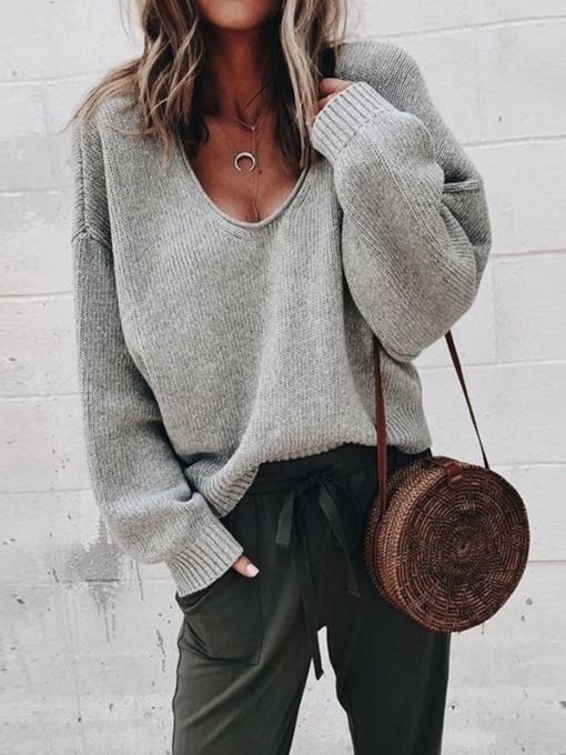 Loose V-Neck Plain Women's Sweater