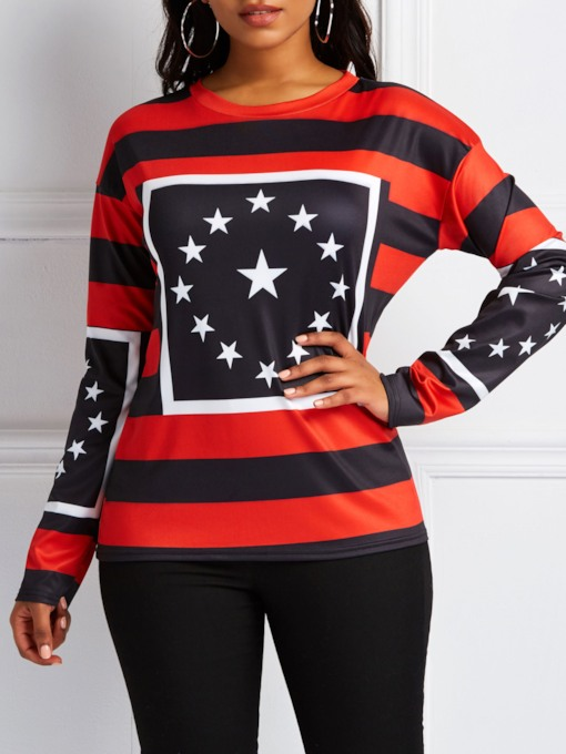 Color Block Stripe Star Print Women's Sweatshirt