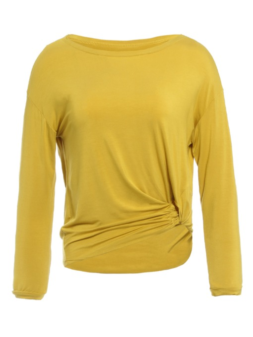Round Neck Pleated Long Sleeve Women's T-Shirt