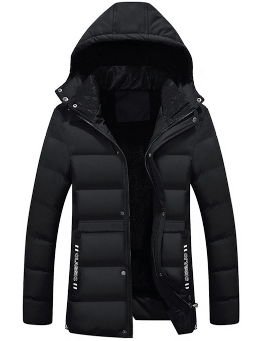 Mid-Length Stand Collar Slim Plain Zipper Men's Down Jacket