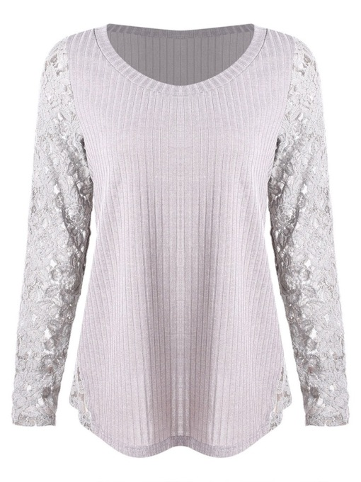 Long Sleeve Round Neck Mid-Length Lace Patchwork Women's T-Shirt