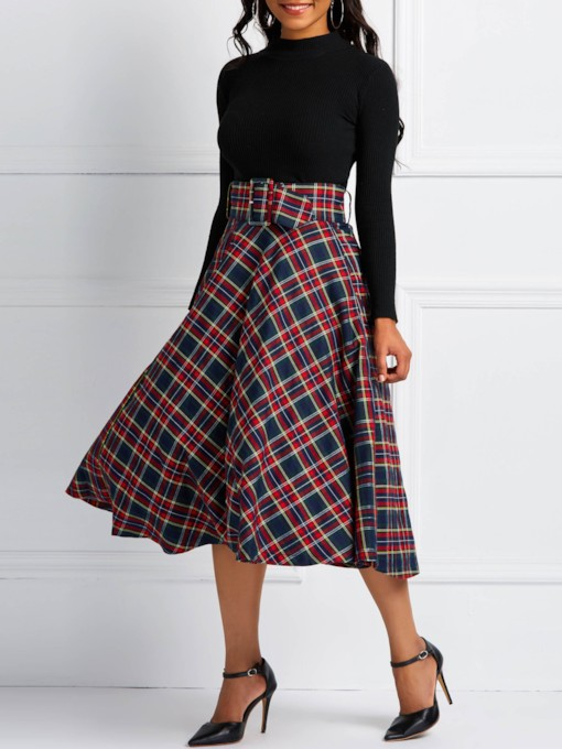 Plaid A-Line Color Block High-Waist Women's Skirt
