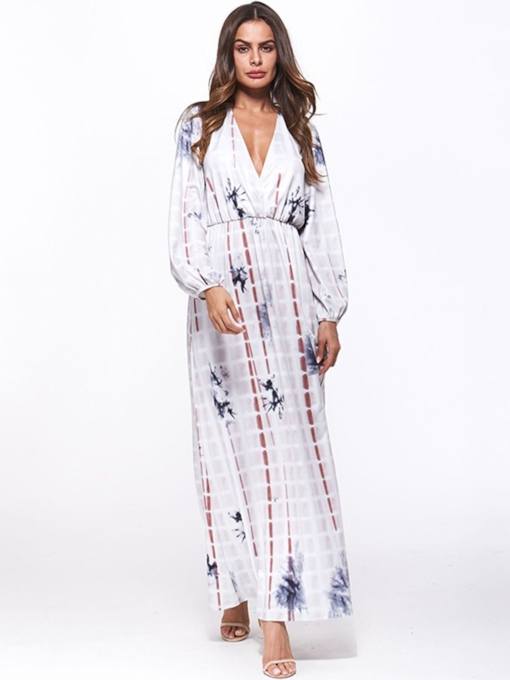 V-Neck Print A-Line Women's Maxi Dress