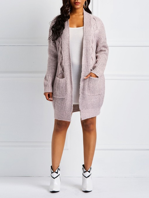 Dual Pockets Jacquard Weave Women's Cardigan