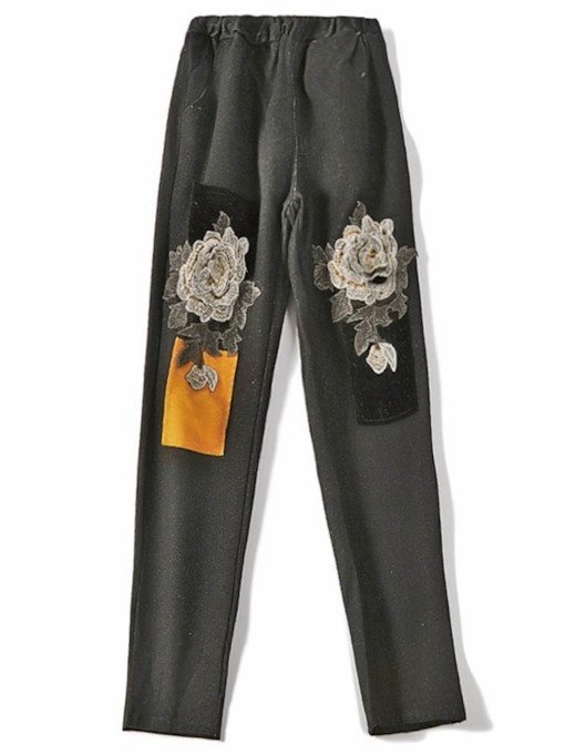 Floral Slim Embroidery High-Waist Women's Jeans