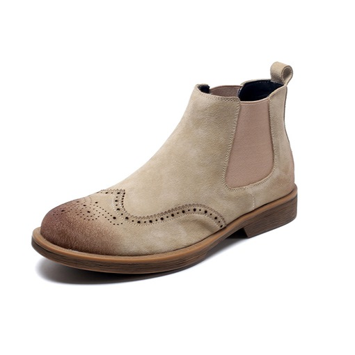 Round Toe Slip-On Brush Off Stylish Men's Chelsea Boots