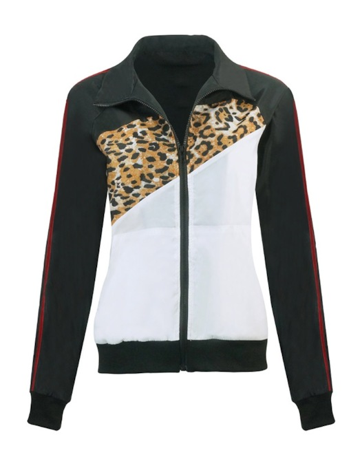 Color Block Leopard Print Zipper Women's Jacket