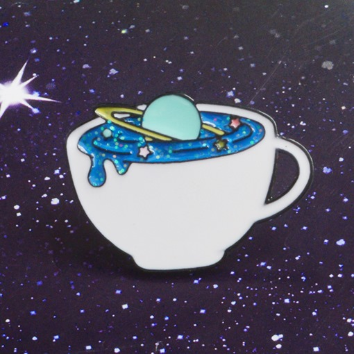 Lanetary Surround Space Cup Pin Brooch